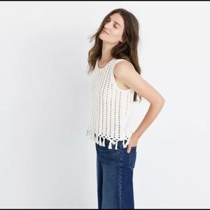 Madewell fringe knitted tank sweater
